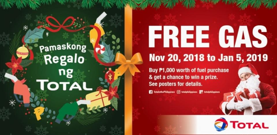 Manila, December 7, 2018 – TOTAL (Philippines) Corporation is celebrating the season of giving by treating 2,000 customers to fuel e-vouchers worth up to P1,000 weekly in its Pamaskong Regalo ng TOTAL promo!